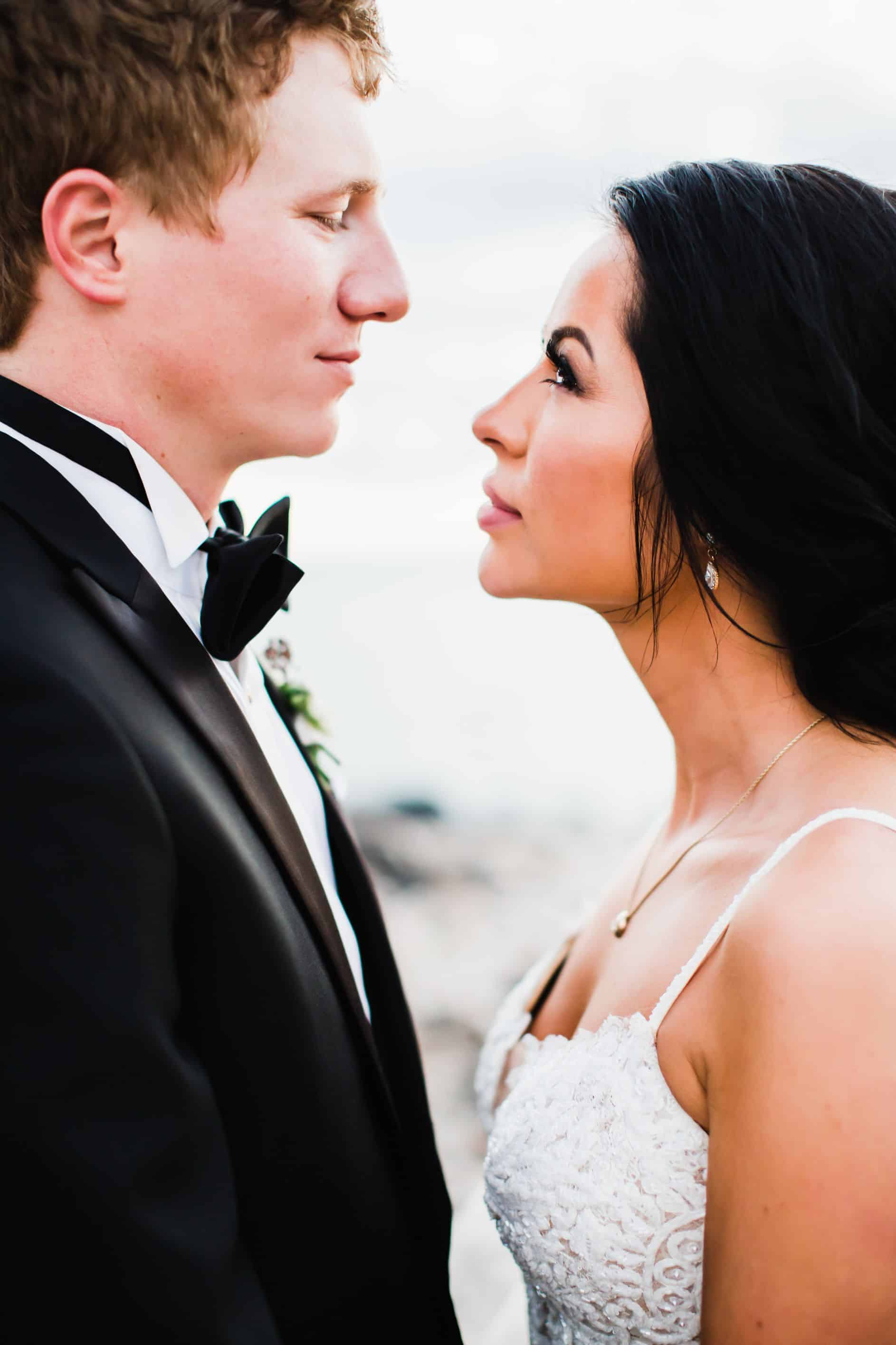 Bride and groom gazing at each other | Maui's Angels