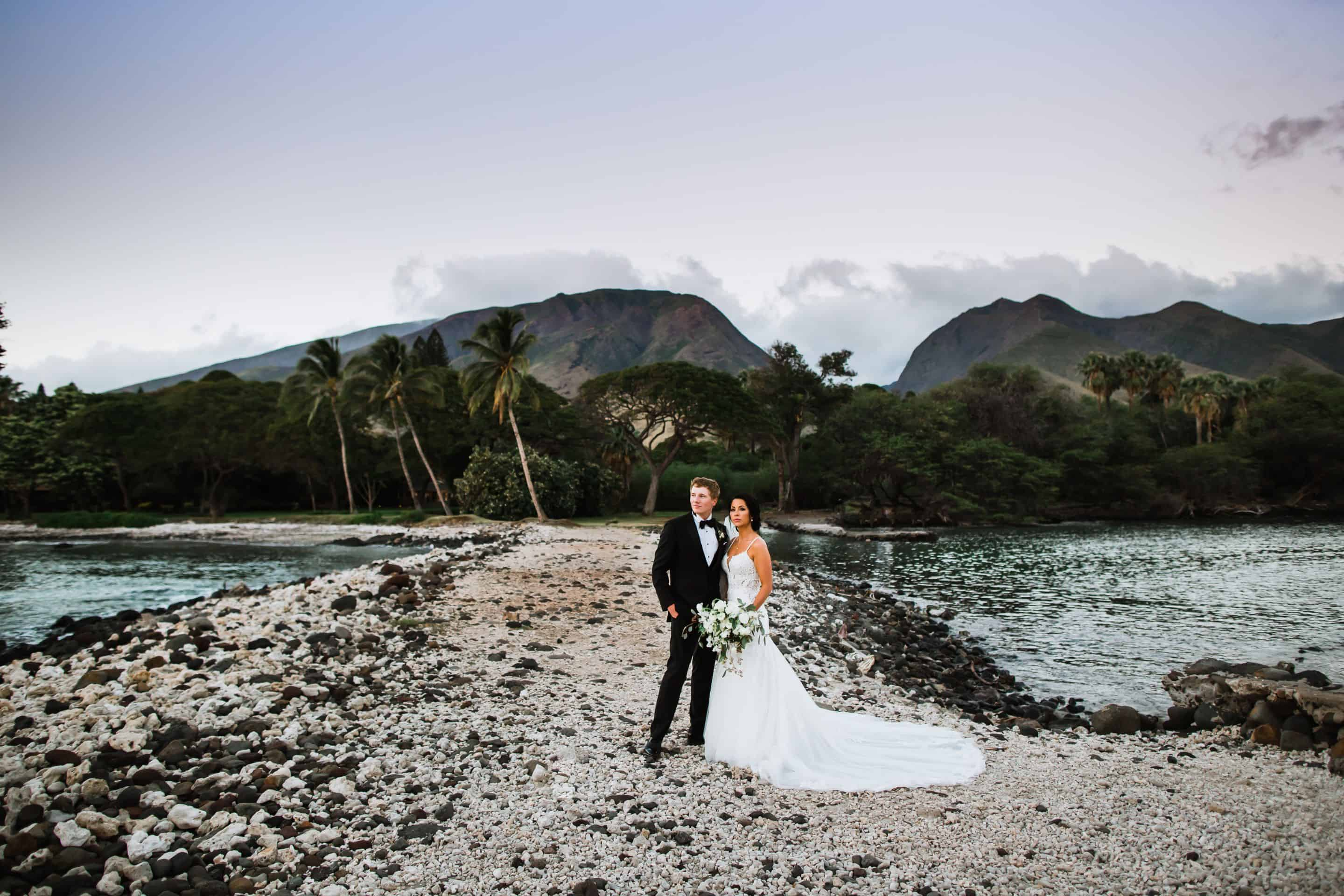 Bride and groom at Maui Wedding Venue Olowalu Plantation House | Maui's Angels