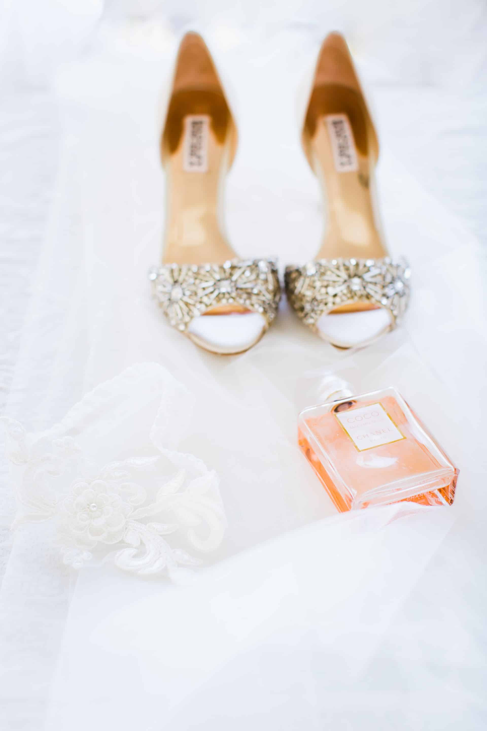 Sparkly wedding shoes details shot | Maui's Angels