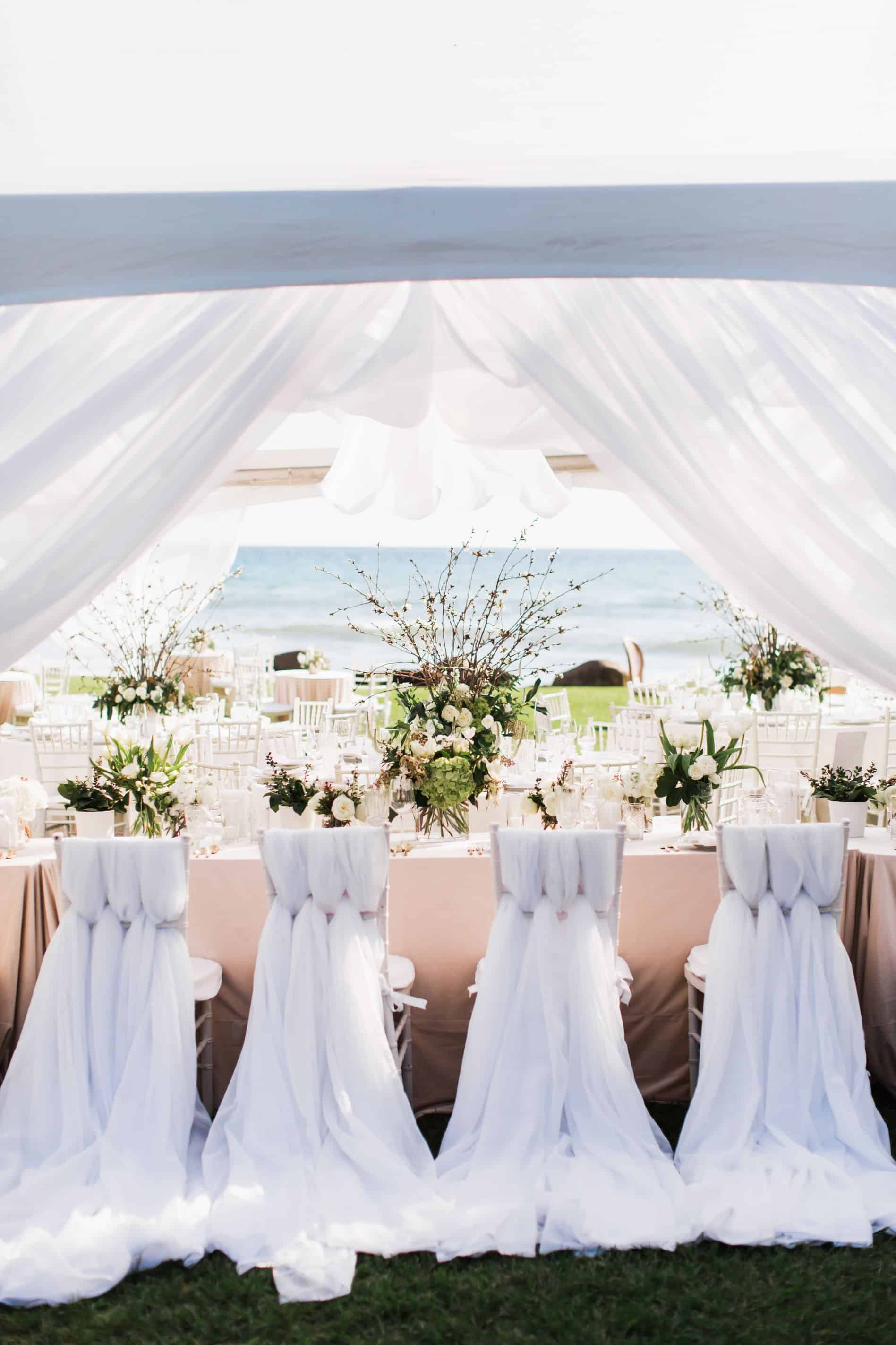White wedding tent overlooking ocean | Maui's Angels