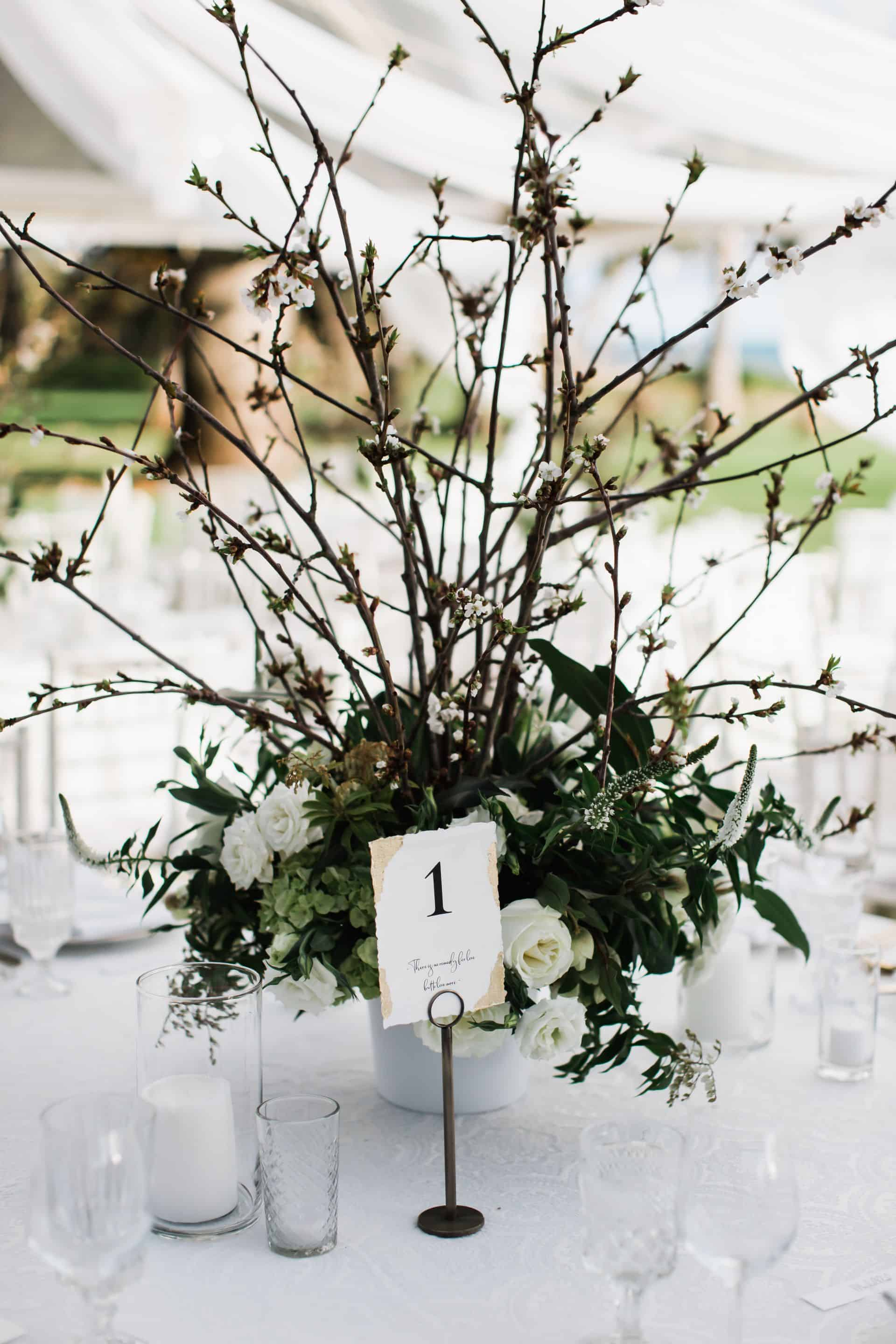 Branch wedding reception centerpiece | Maui's Angels