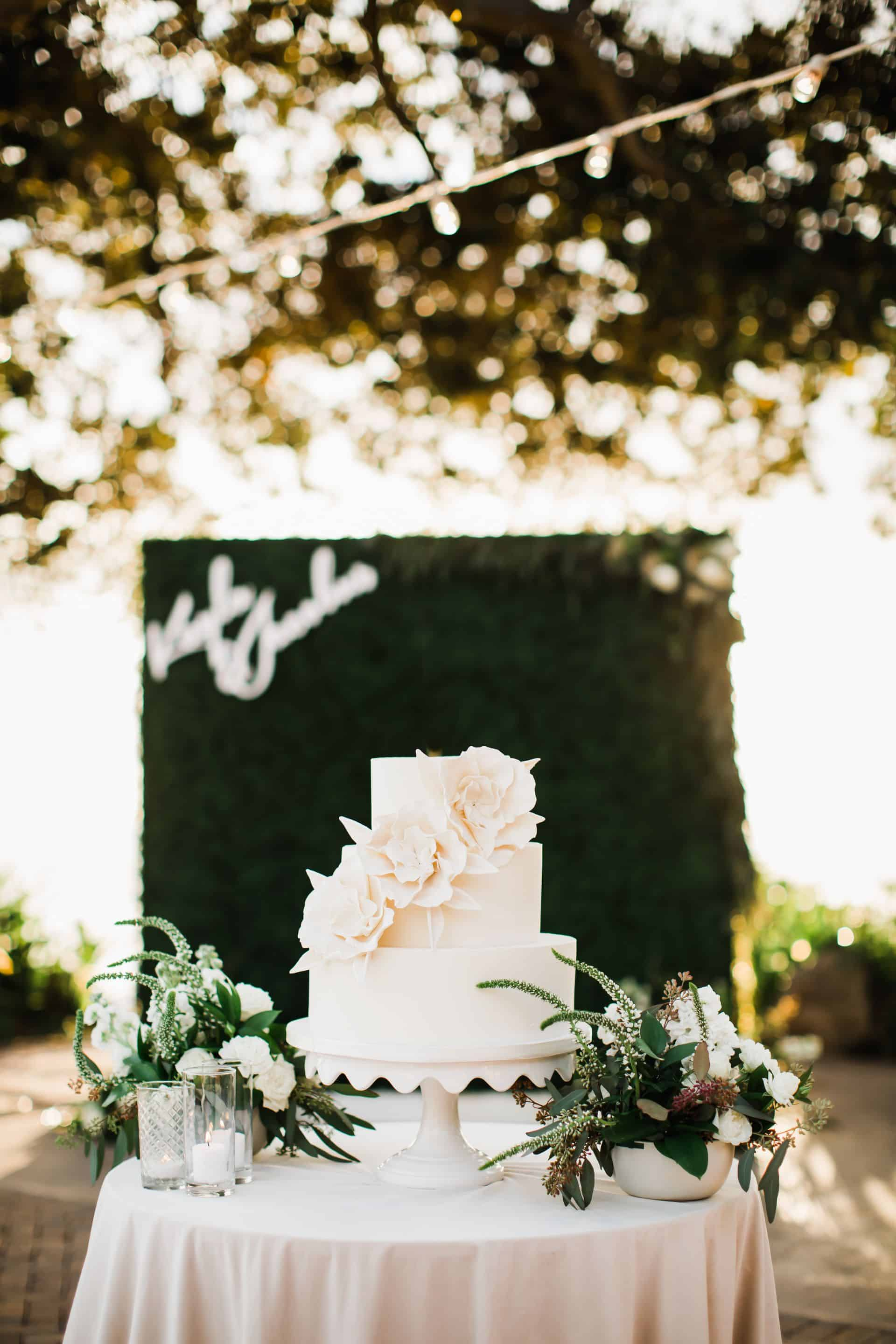 three tier white wedding cake | Maui's Angels