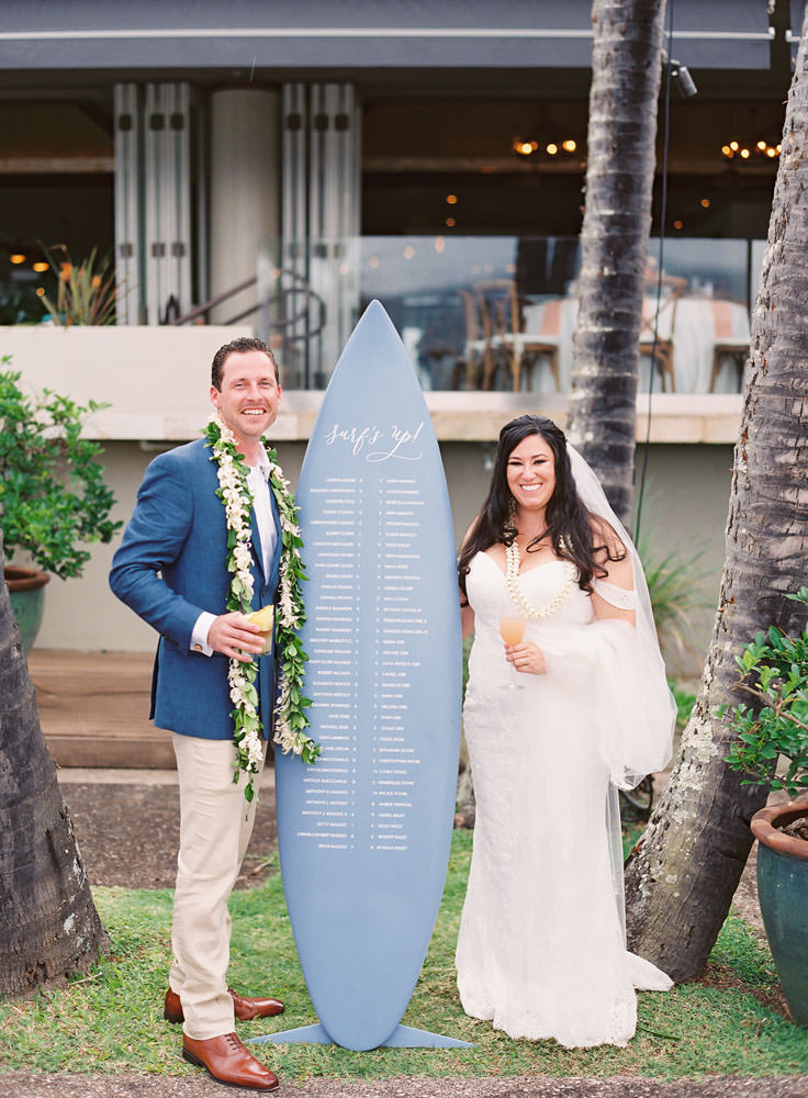 Couple posing by surfboard