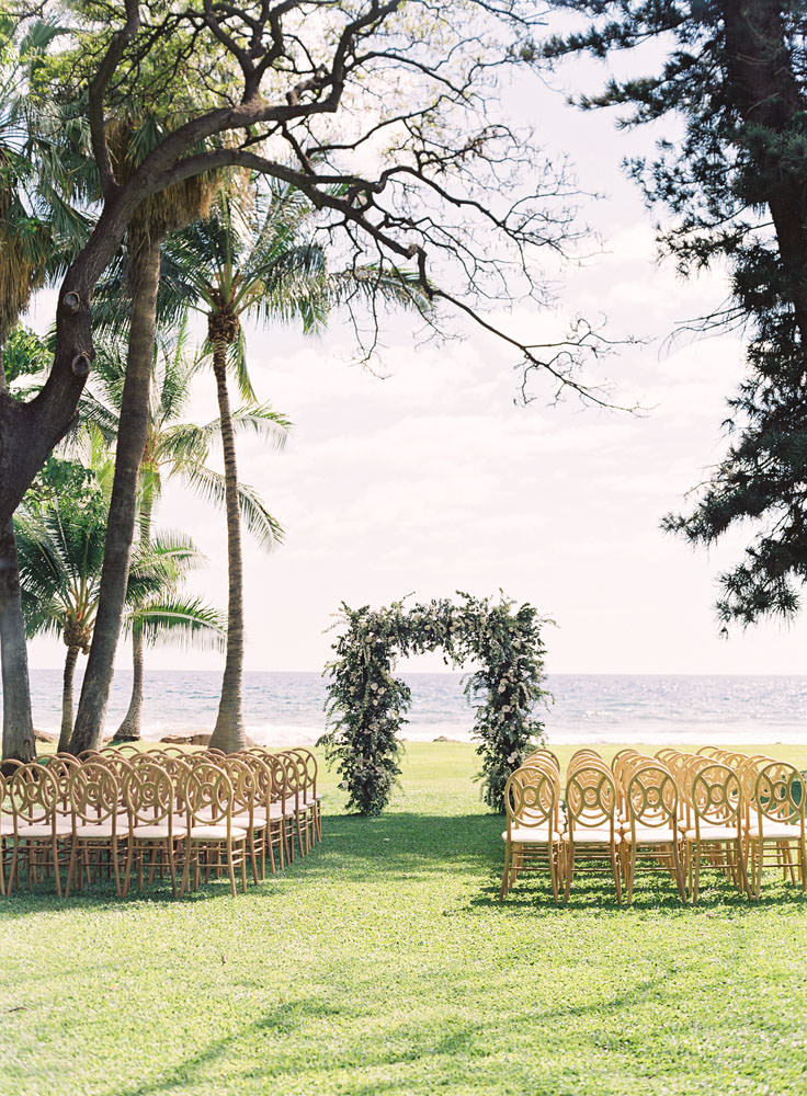 Oceanfront wedding venue with alter and chairs